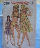 Simplicity 7046 Swim Suit/Hat/Beach Dress-1967 14/34 - $6.99