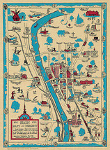 Elgin Past and Present 1835-1930 Illinois Map Animated Historical Wall Poster - $13.00+