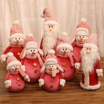 New Cute Christmas Doll Pink Santa Claus Knit Cap Snowman Toys Xmas Figu... - $56.60