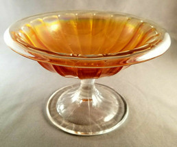 VINTAGE IRIDESCENT MARIGOLD CARNIVAL GLASS  PEDESTAL COMPOTE - $19.80