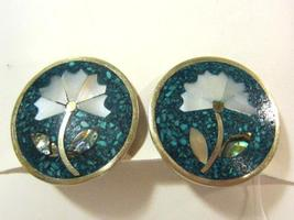 Alpaca Mexico Turquoise,Mother of Pearl,Abalone clip earrings - $5.00