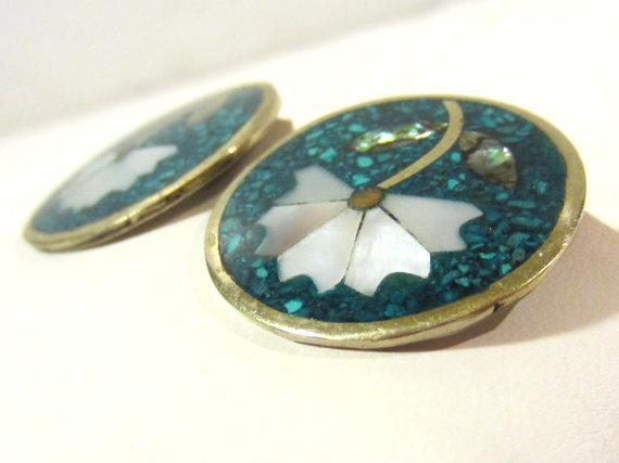 Alpaca Mexico Turquoise,Mother of Pearl,Abalone clip earrings