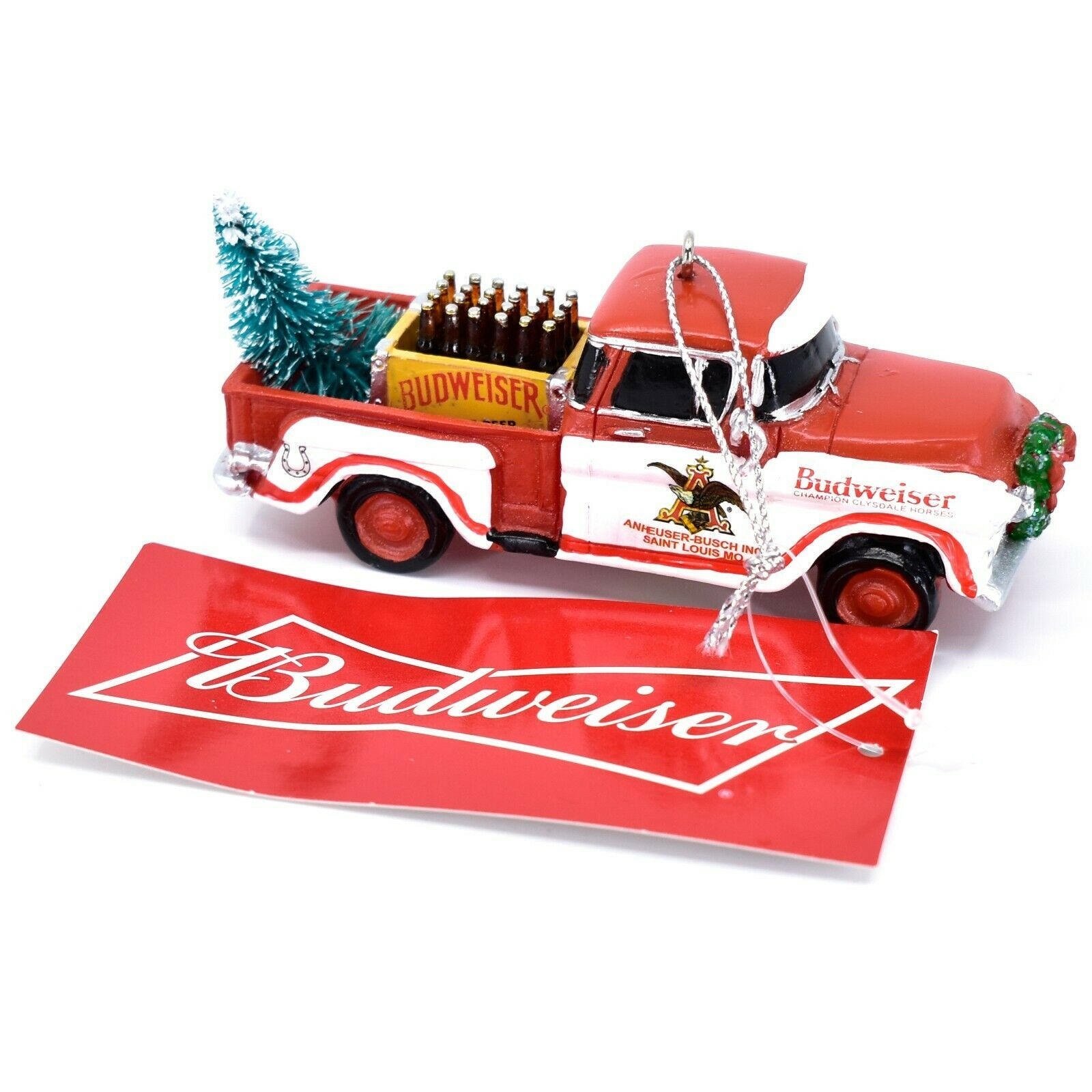 Kurt S Adler Budweiser Delivery Pickup Truck with Tree Christmas Ornament AB2201