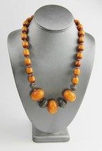 "20"" ESTATE VINTAGE Jewelry CHUNKY BOHO TRIBAL METAL & COPAL BEAD NECKLACE - $65.00"