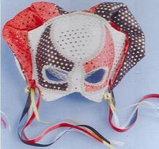 JESTER MASK SEQUIN DOT ON HEADBAND Red and Black - $12.00