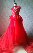 Pageant Red Lace Tutu High Waist Flower Girl Dress 2-Way Girl Birthday Dress NWT image 7