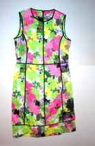 New Calvin Klein 8 Bright Floral Womens Sheath Dress Black Pink Purple G... - $60.30