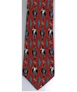 NEO Bill Blass Necktie Wide Golfer Red Grey Diamonds 100% Silk Made in C... - $15.21