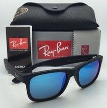 Ray-Ban Sunglasses JUSTIN RB 4165 622/55 51-16 Black Rubber Frame w/ Blue Mirror