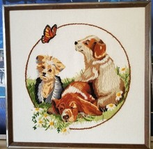 Finished Framed Needlepoint Needlework Puppies Dogs Yorkie Hound Flowers... - $29.99