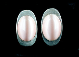 Vintage Retro Modernist Sterling Silver Pink Moonglow Glass Clip Back Ea... - $65.69