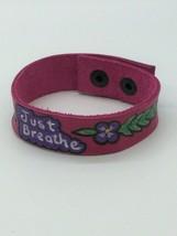 Just Breathe - Handmade Handpainted Pink Leather Band Bracelet - $32.66