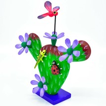 Handmade Alebrijes Oaxacan Painted Wood Folk Art Flowering Prickly Pear Cactus image 2