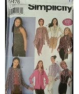 Simplicity 9476 Sewing Pattern Misses Miss Blouses- Size UU 16, 18, 20, 22 - $8.82
