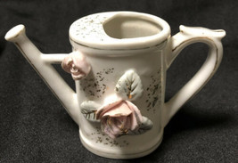 Vintage Miniature Porcelain Watering Can Applied Flowers Gold Trim Hand ... - $25.73
