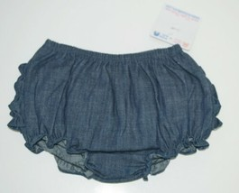 RuffleButts Faux Denim Infant Bloomers Size 12 to 18 Months Color Dark Blue image 1