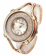 Women Luxury Analog Quartz Big Face Small Dial Rhinestones Cuff Rose Gol... - £26.80 GBP