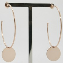 18K ROSE GOLD PENDANT CIRCLE HOOPS EARRINGS WITH FLAT DISC, SMOOTH MADE IN ITALY image 1