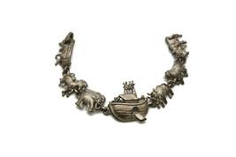 Vintage 1980s A.J.C. Noah's Arc Animal Pewter Bracelet Costume Jewelry 7... - $18.60