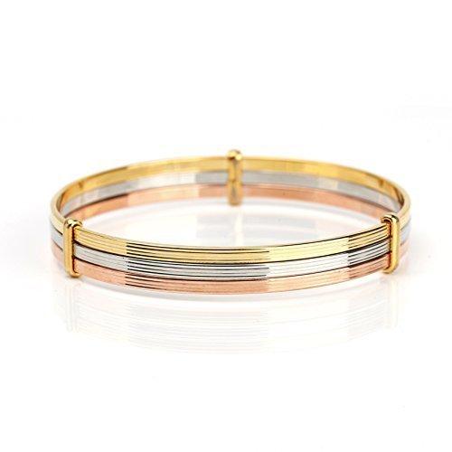 UNITED ELEGANCE Contemporary Tri-Color (Rose, Silver, Gold Tone) Bangle Bracelet