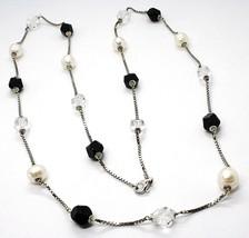 Halskette Silber 925, Perlen, Nuggets Schwarz und Transparent, Länge 85 CM image 1