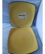Corelle Hearthstone Dinner Plates Stoneware Turmeric Yellow Square Set of 2 - $48.35