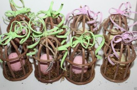 Pier 1 Imports NWT Lot of 8 Easter Tree Ornaments Natural Bird Cages w/ ... - $59.74