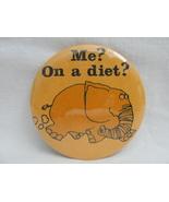 Pinback Button Orange Elephant Me On A Diet 1980s Vintage Humor Novelty ... - $4.99
