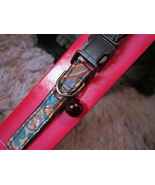 """safety cat collar w bell - new - 8-14"""" - boho chic orange teal maroon pa... - $5.00"""