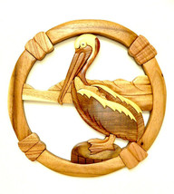 Pelican Bird Sea Seashore Beach Intarsia Wood Wall Art Home Decor New - $49.45