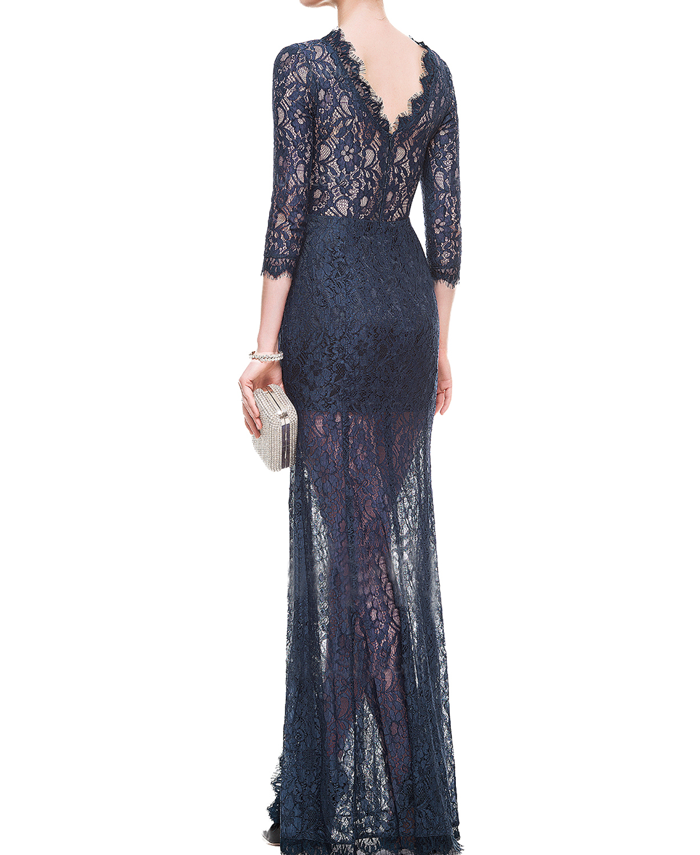 Navy Blue Sheath Lace Evening Dress,Sexy Lace Navy Blue Sheath Long Prom Dresses