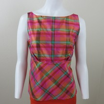 Isaac Mizrahi for Target Pink Plaid Empire Silk Top Size M Side Zip Pull... - $23.75