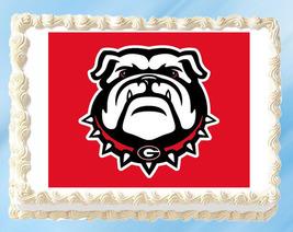 "Georgia Bulldogs Edible Image Topper Cupcake Cake Frosting 1/4 Sheet 8.5 x 11"" - $11.75"