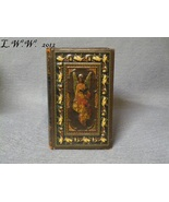 Small Faux Book Renaissance Angel and leaf Leather-Look Antiqued Book Box  - $11.99