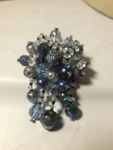 Vintage Costume Jewelry Vendome SHADES OF BLUE Art Glass Large Statement... - $54.45