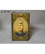 Small Faux Book Renaissance Sailing Ships Leather-Look Antiqued Book Box  - $11.99