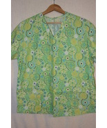 Mint Green Women's Scrub Top Colorful Flower Print  Sz L/XL - $6.99