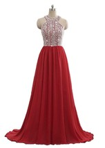 Cheap Sparkly Crystal Prom Dresses Long 2018 Beading Chiffon Evening Gown Formal - $148.99