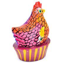 Handmade Alebrijes Oaxacan Painted Wood Folk Art Chicken Hen Basket Figure image 3