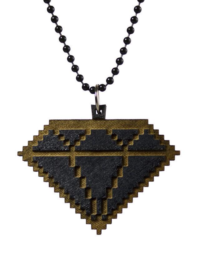 Good Wood New York 8 Bit Wooden Diamond Pendant Ball Necklace NWT