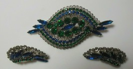 Vintage Blue & Green Faceted, Prong Set Hobe Brooch & Earring Set Heart ... - $272.25