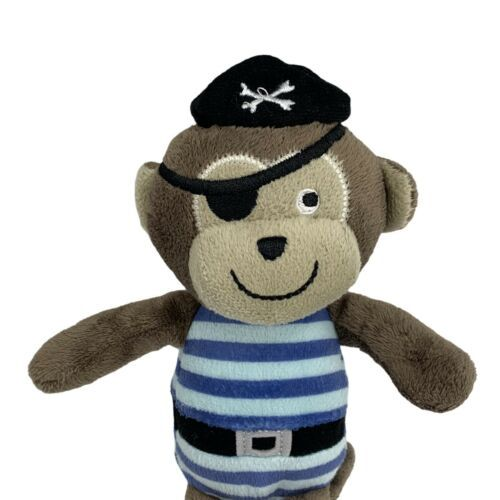 "Primary image for Carter's Baby Brown Tan Pirate Monkey stuffed animal plush Blue Stripes 9"" Toy"