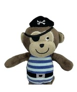 Carter's Baby Brown Tan Pirate Monkey stuffed animal plush Blue Stripes ... - $29.65