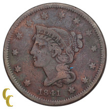 1841 Braided Hair Large Cent 1C Penny (Fine+, F+ Condition) - $78.21