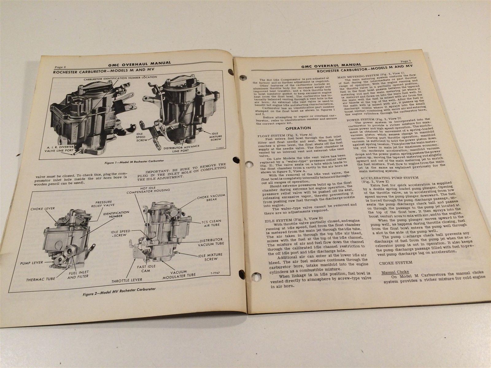 1970 GMC Truck Unit Overhaul Manual X-6M-04 Carburetors Rochester Models MV 4MV