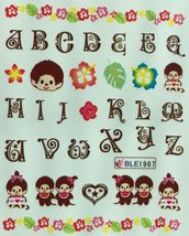Bang Store Nail Art Water Decals Cute Monkey Alphabet Letters Flowers Cute Funny - $2.12