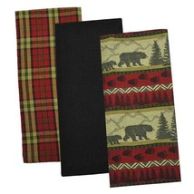 Bear Country Dish Towels Set of 3 New 100% Cotton Black Waffle Trees Pri... - $22.76