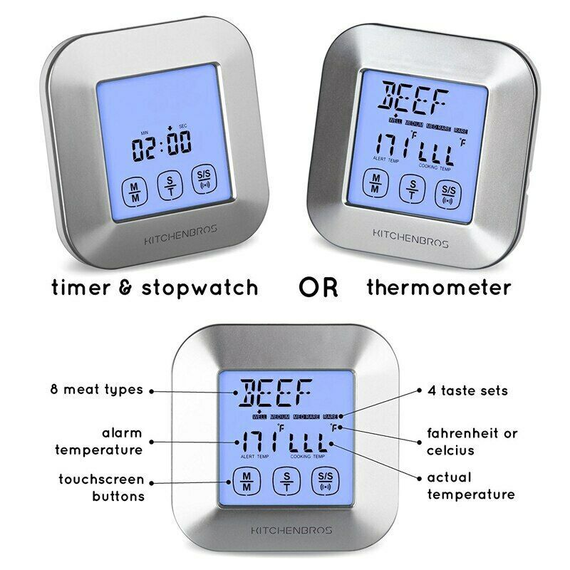 BBQ Thermometer Smoker Grilling Touch Screen Digital Timer 2 Stainless Probes