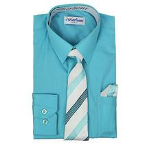 Berlioni Italy Kids Boys Long Sleeve Aqua Dress Shirt Set With Tie & Hanky - 14