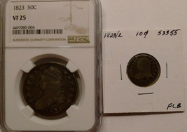 """NGC graded VF 25 capped bust half dollar minted in 1823, """"normal"""" 3 & wo... - $192.00"""